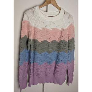 Andree | Multi Color Block Scallop Sweater Size 1X